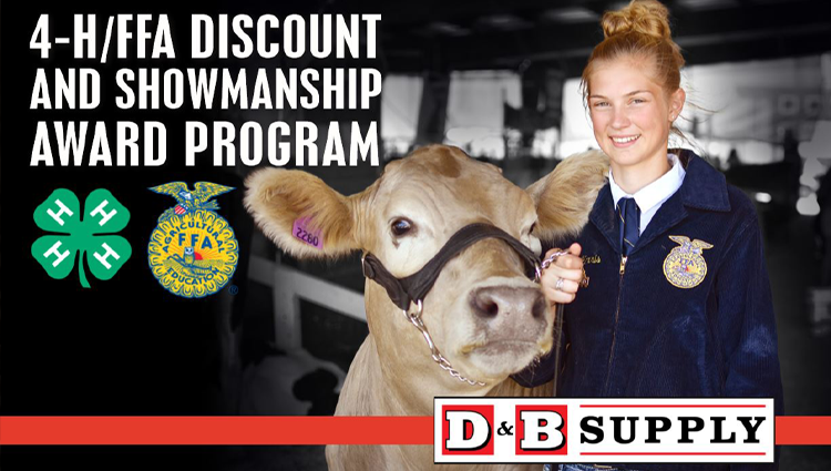 4-H and FFA Discount Program at D&B Supply FFA girl with cow